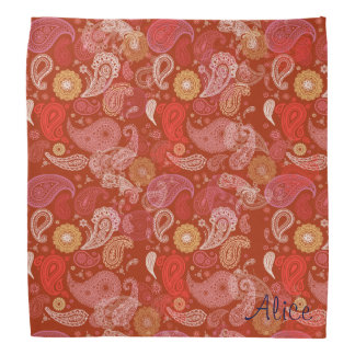 Red  floral paisley damask bandana