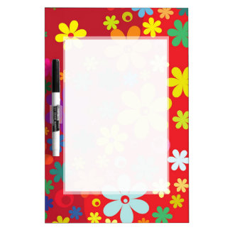 RED FLORAL PATTERN  DRYERASEBOARD, HAPPY  FLOWERS DRY ERASE BOARD