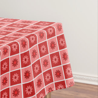 Red Floral Pattern Tablecloth