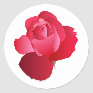 Red floral Rose Classic Round Sticker