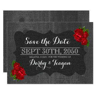Red Floral Roses Burlap Wood Gothic Save the Dates Card