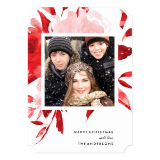 Red Floral Roses Christmas Holiday Card