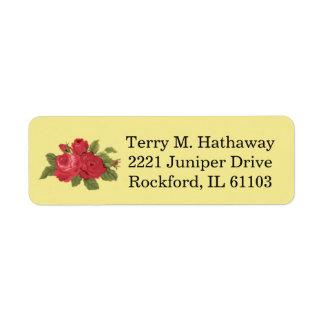 Red Floral Roses Return Address Label