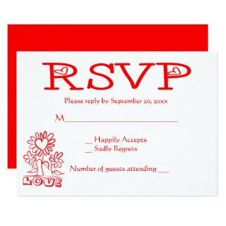 Red Floral RSVP Love Flowers & Hearts Wedding Card
