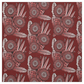 Red Floral Spray Fabric
