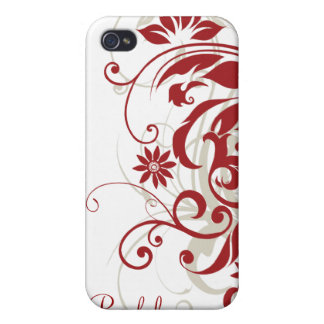 Red Floral Swirls iPhone 4 Cover