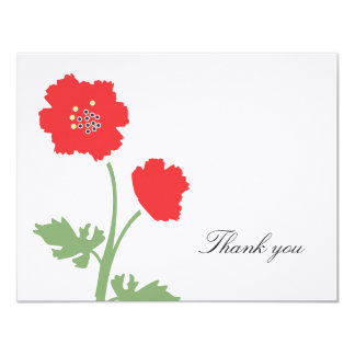 """Red Floral Thank You Flat Note Card 4.25"""" X 5.5"""" Invitation Card"""