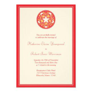 Red Floral Tiles Wedding Invitation