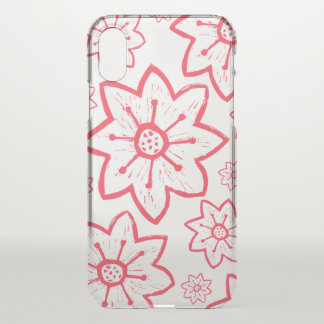 Red Floral Transparent iPhone X Case