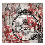 Red Floral Unconditional Love Wedding Invite