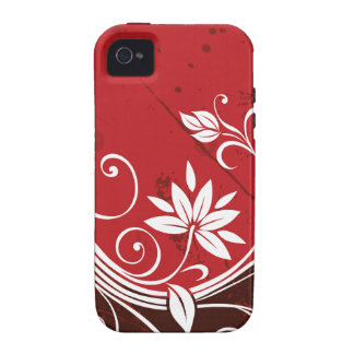 Red Floral Vine iPhone 4 Cases