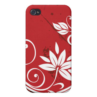 Red Floral Vine Pattern iPhone 4 Case