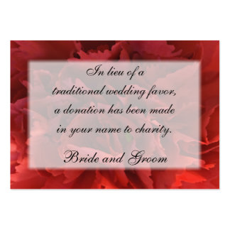 Red Floral Wedding Charity Favor Card Pack Of Chubby Business Cards
