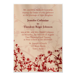 Red Floral Wedding Invitations Flowers Flower