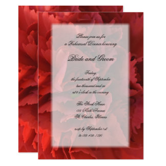 Red Floral Wedding Rehearsal Dinner Invitation