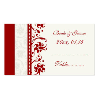 Red Floral Wedding Table Place Setting Cards Business Cards
