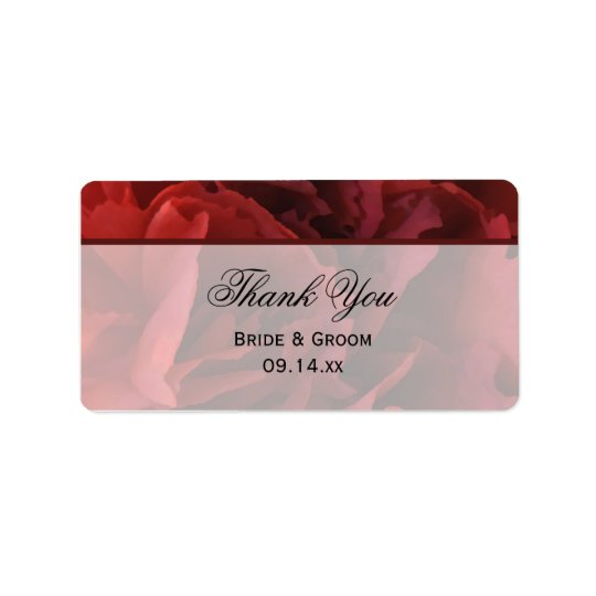 Red Floral Wedding Thank You Favour Tags