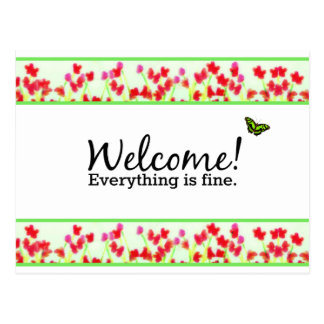 """Red Floral - """"Welcome! Everything is fine."""" Postcard"""