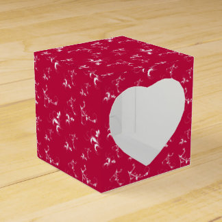 Red floral with white flowers and leaves party favour box