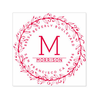 Red Floral Wreath | Custom Monogram Return Address Self-inking Stamp