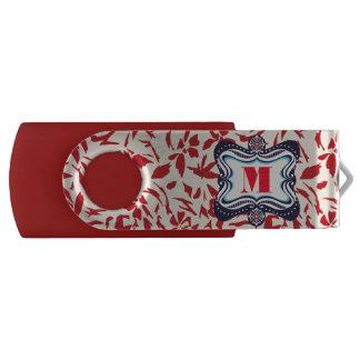 Red Florals Swivel USB 2.0 Flash Drive