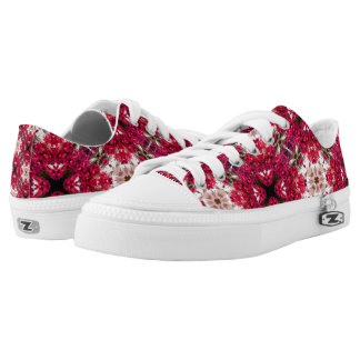 Red Flower Abstract Low Tops