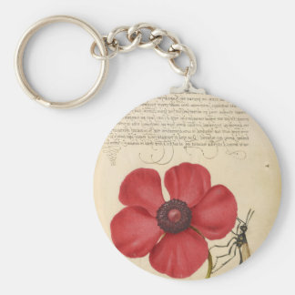 Red Flower And Snail Key Ring