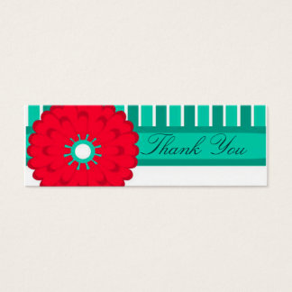 Red Flower and Teal Mini Business Card
