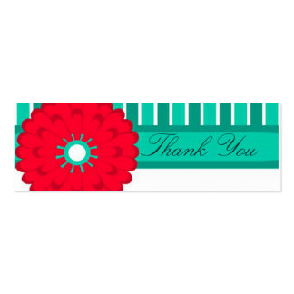 Red Flower and Teal Pack Of Skinny Business Cards