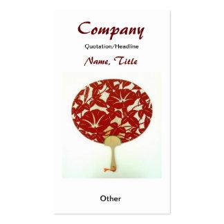 Red Flower Asian Fan Custom Earring Display/Busine Business Cards