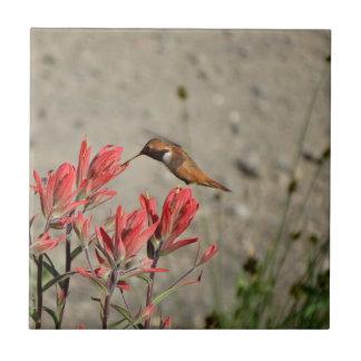 Red flower bird ceramic tile