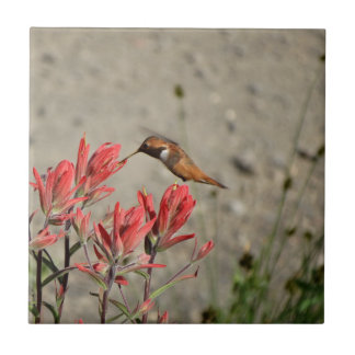 Red flower bird small square tile