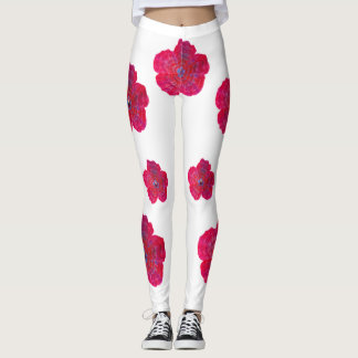 Red Flower Blossom Art Pattern Legging