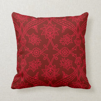 Red Flower Boho Chic Throw Pillow
