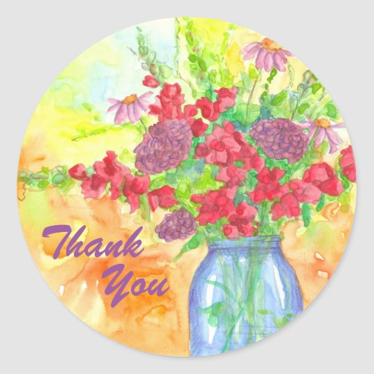 Red Flower Bouquet Thank You Classic Round Sticker