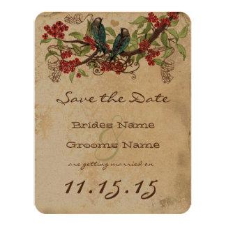 Red Flower Branch Vintage Birds Wedding RSVP Card