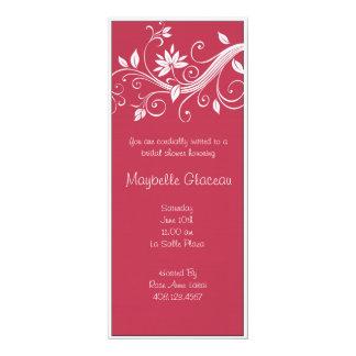 Red Flower Bridal Shower 10 Cm X 24 Cm Invitation Card