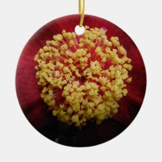 red flower ceramic ornament