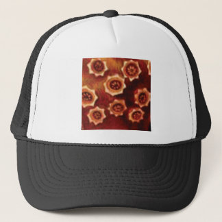 red flower cluster trucker hat