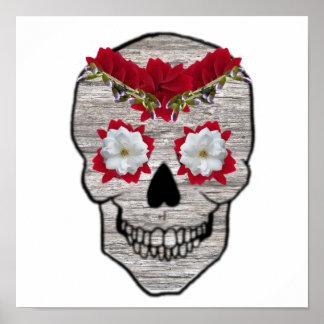Red Flower Day of the Dead Hipster Skull Print
