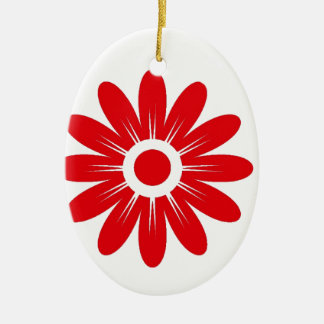 Red flower ceramic oval decoration