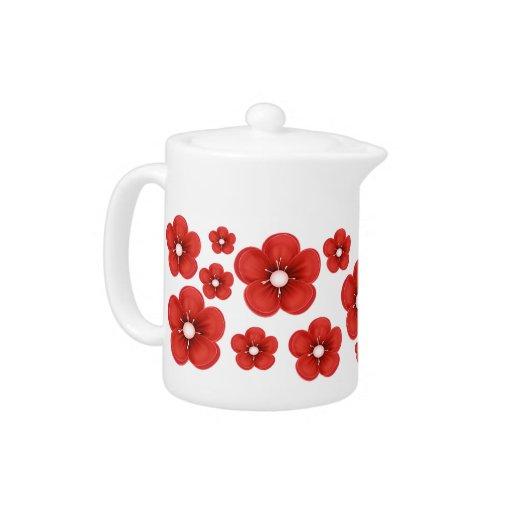 Red Flower Design Teapot