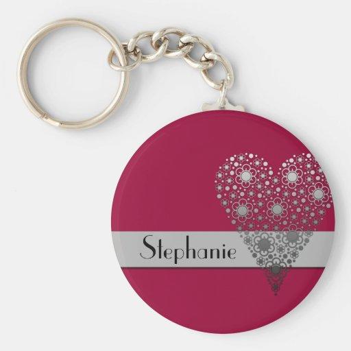 Red Flower Heart Cute custom name keychain
