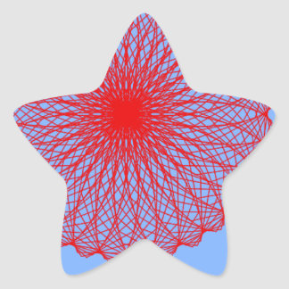 red flower in blue abstract art stickers