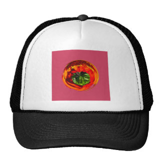 Red flower in glass globe mesh hat