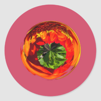Red flower in glass globe round sticker