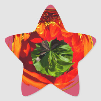 Red flower in glass globe star sticker