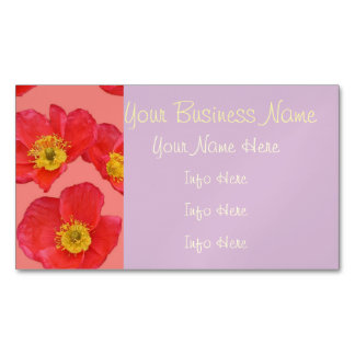 red flower magnetic business cards