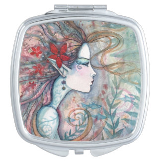 Red Flower Mermaid Fantasy Art Compact Mirrors