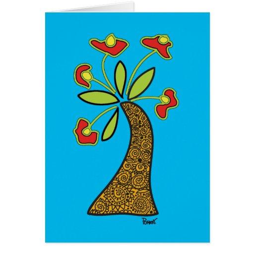 Red Flower & Motif Vase Blank Card